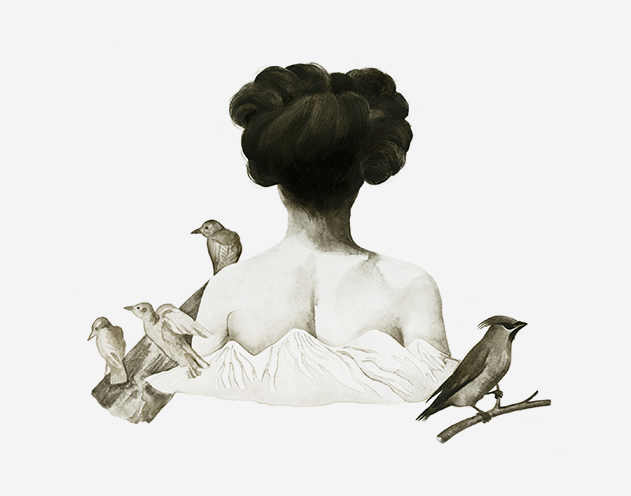 erdpigmente, watercolor, natural pigments, woman, birds, mountains, sepia, welponer